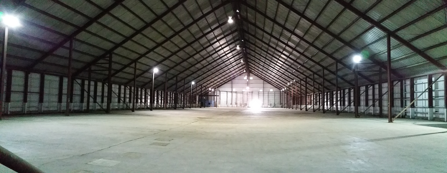 View of inside of warehouse facing North