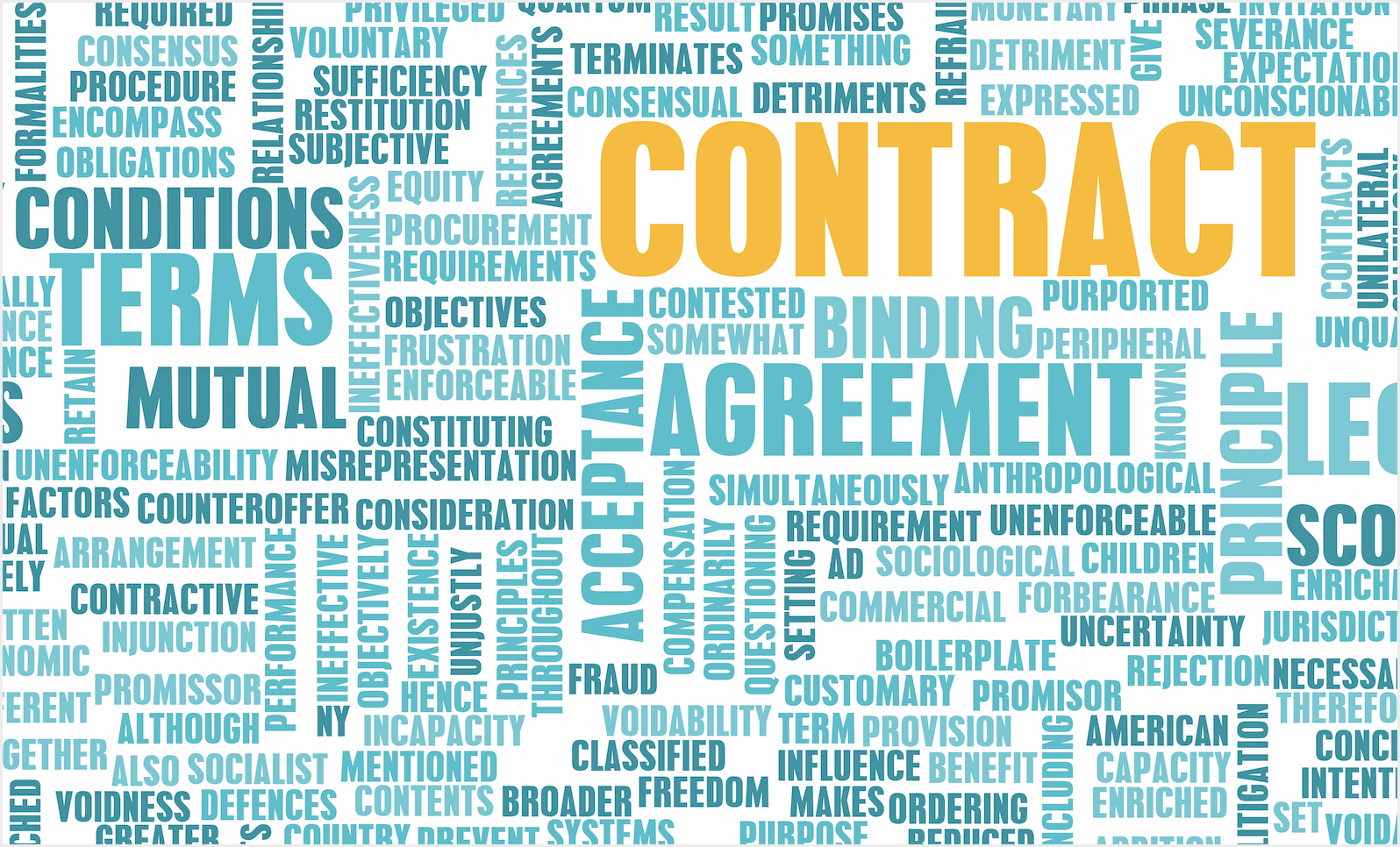 contract word cloud infographic